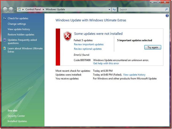 error 0x80070490 when installing updates in Windows Vista
